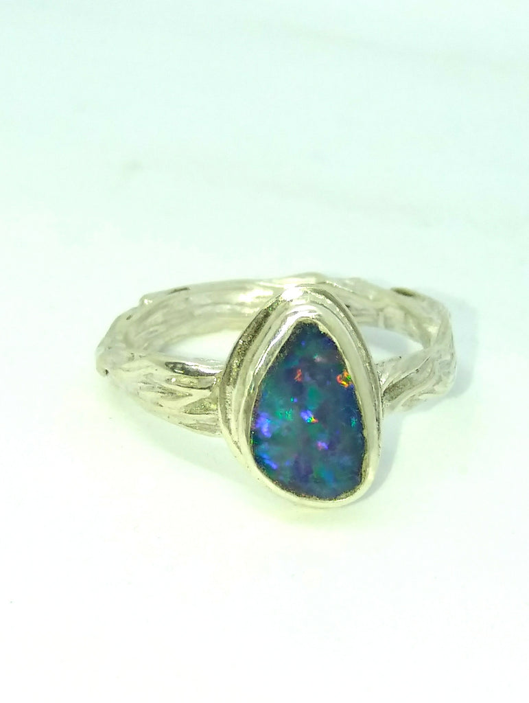 Handmade silver and opal ring