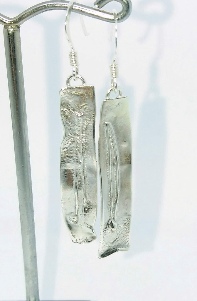 Silver melt earrings