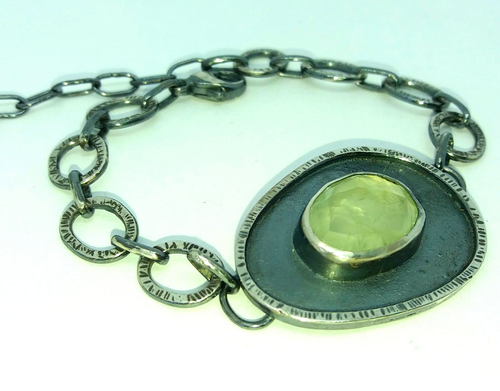 Sterling silver and prehnite bracelet