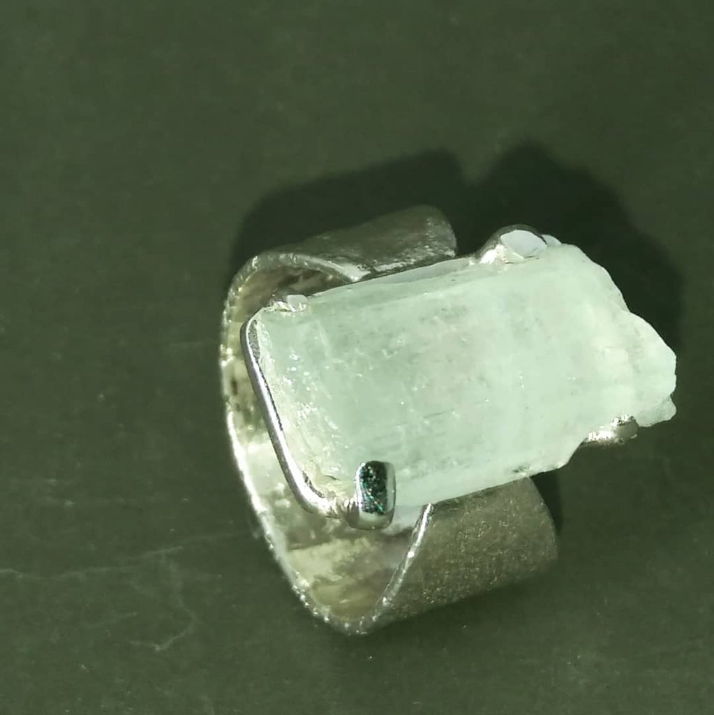 Raw aquamarine and silver ring