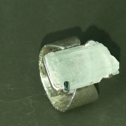 1783 Rockface and Aquamarine Ring