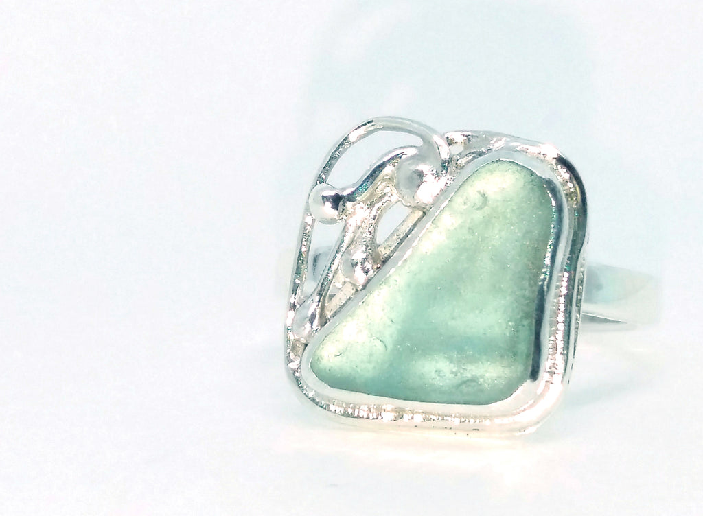 1799 Seafoam Aqua Seaglass Ring