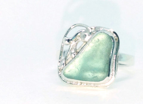Seafoam Aqua Seaglass Ring