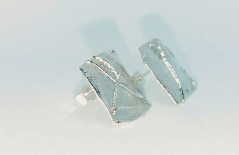 Large Square Silver Melt Studs