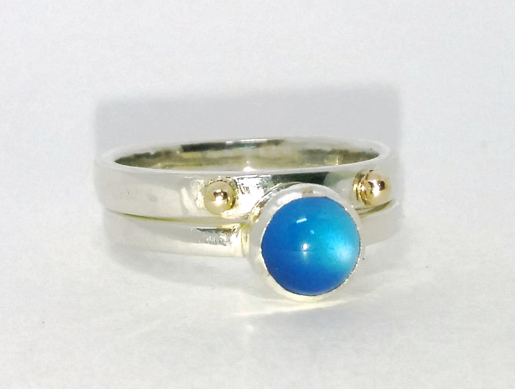 Blue onyx and gold dot stacking ring set