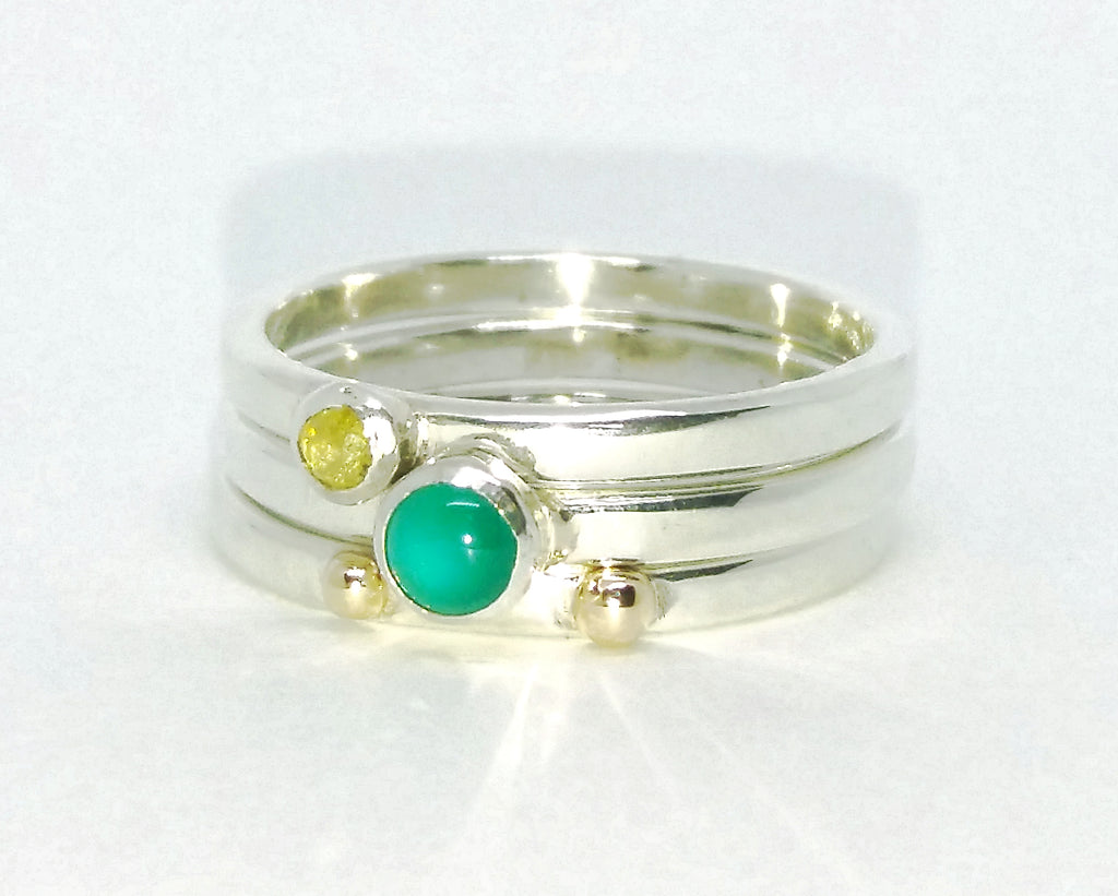 Green agate and diamond stacking ring set