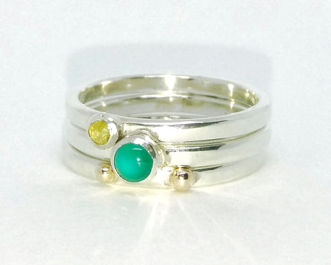 Green Agate and Yellow Diamond Stacking Set