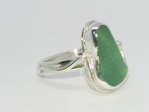 Seafoam Teardrop Seaglass Ring