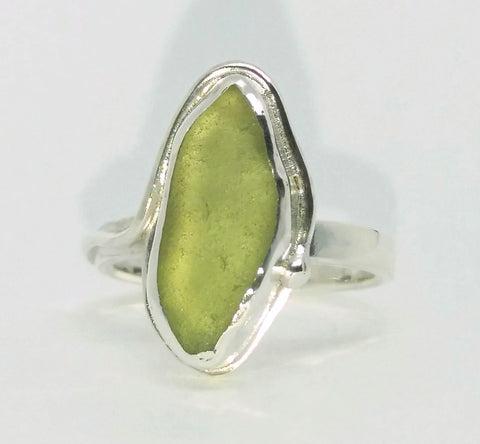 Long Pale Green Seaglass Ring