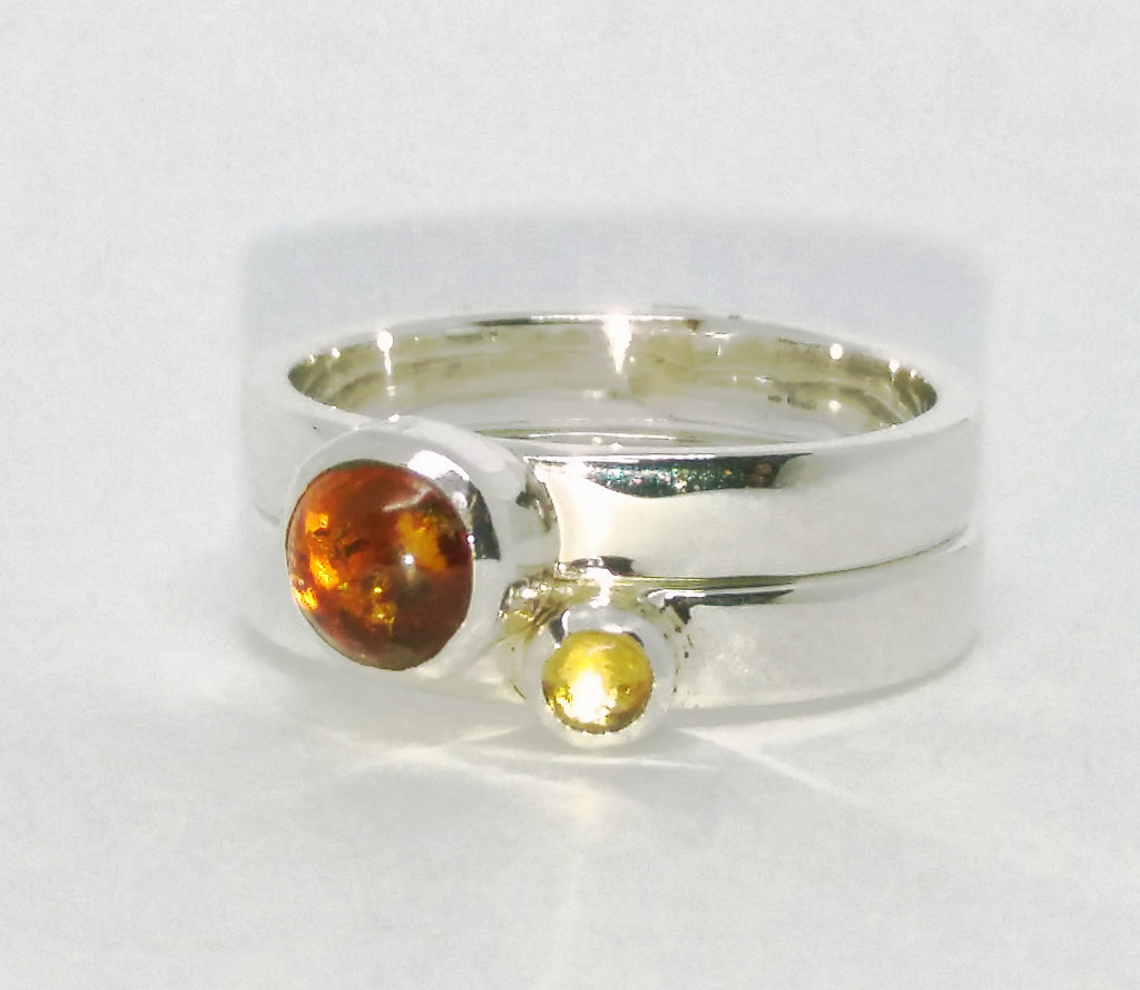 Amber and citrine stacking ring set