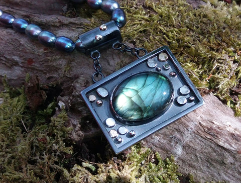 Silver and Labradorite Gravity Pool Pendant