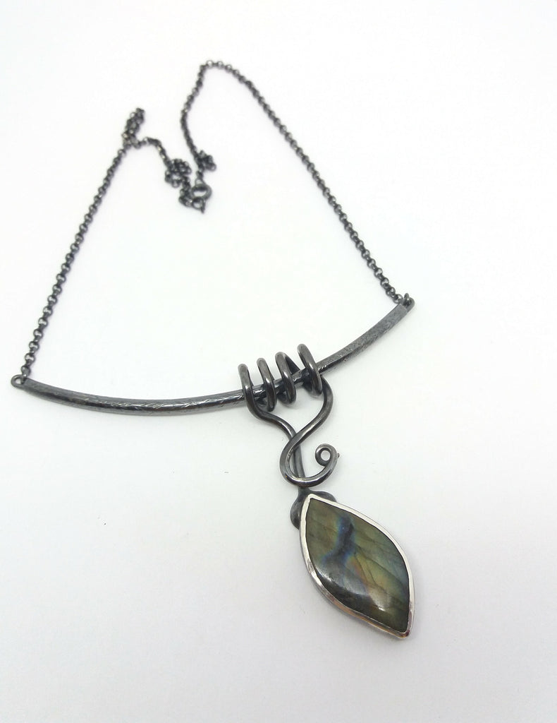 Labradorite Intertwined leaf pendant necklace sterling silver