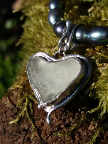 Silver and Seaglass Heart Pendant
