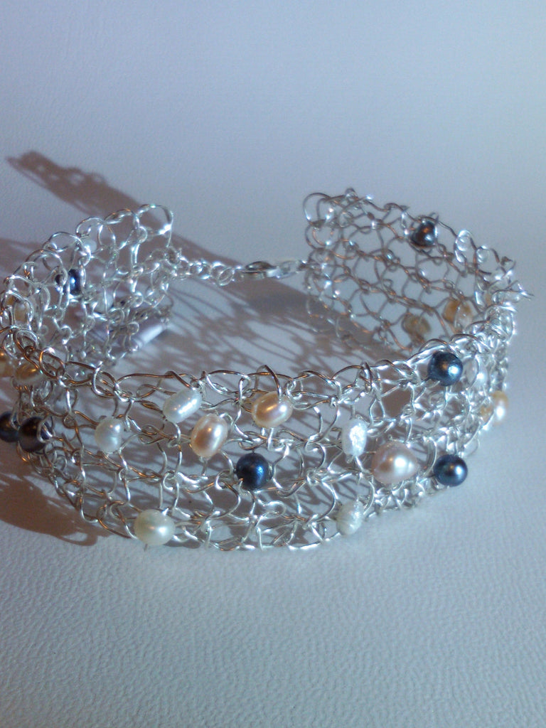 Knitted Silver Cuff