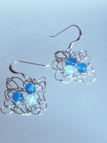 Knitted Silver Earrings