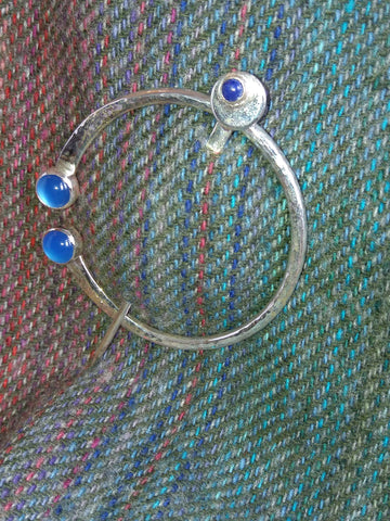 Penannular Pin with Blue Stones