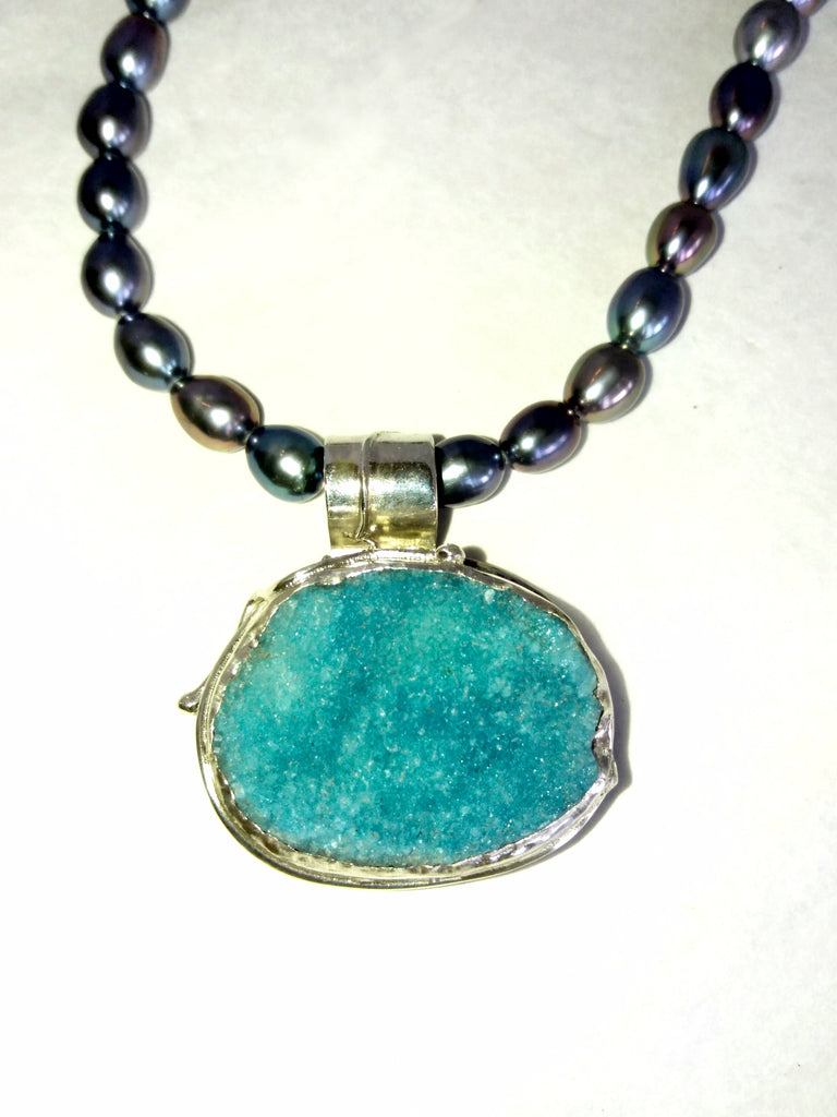 1668 Heavenly Bodies Blue Druzy Pendant