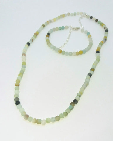 Small Matt Amazonite Beads Necklace Bracelet