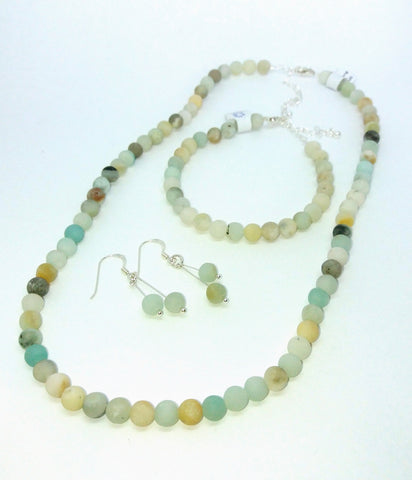 Large Matt Amazonite Beads Necklace Bracelet Earrings