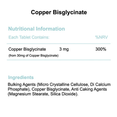 Copper Bisglycinate 3mg tablets nutritional information and ingredients by Phoenix Nutrition