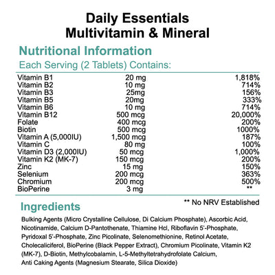 Daily essentials multivitamin & mineral B vitamins 120 tablets nutritional information & ingredients by Phoenix Nutrition