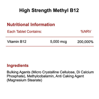 High Strength Methyl B12 Methylcobalamin vitamin 5mg 5000mcg nutritional info & ingredients by Phoenix Nutrition