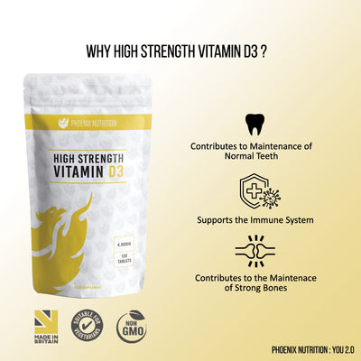 High strength vitamin d3 4,000iu immune health benefits graphic Phoenix Nutrition