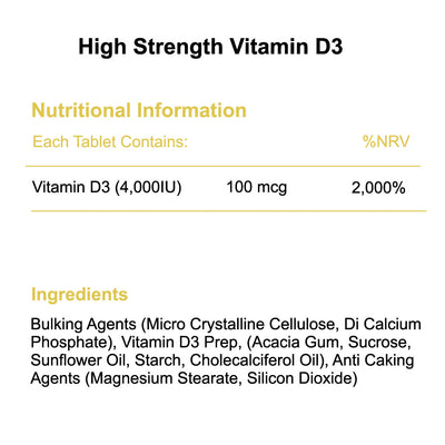 High strength vitamin d3 4,000iu nutritional information & ingredients Phoenix Nutrition