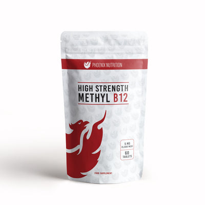 High Strength Methyl B12 Methylcobalamin x 60 tablets 5mg front of pouch Phoenix Nutrition