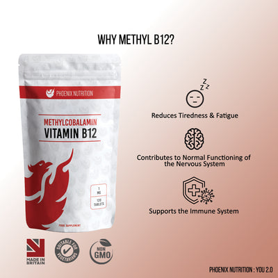 Methyl B12 Methylcobalamin tablets immune & nervous system product benefits  by Phoenix Nutrition