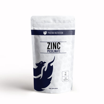 Zinc Picolinate x 120 tablets 15mg front of pouch by Phoenix Nutrition