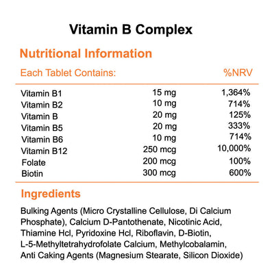 Vitamin b complex tablets nutritional information & ingredients Phoenix Nutrition