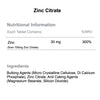 Zinc Citrate x 120 tablets 30mg nutritional information & ingredients by Phoenix Nutrition