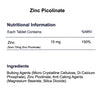 Zinc Picolinate 15mg tablets nutritional information & ingredients by Phoenix Nutrition
