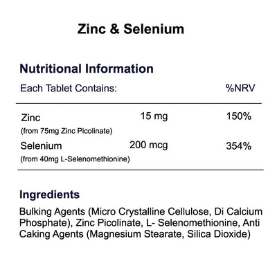 Zinc & Selenium 15mg 200mcg tablets nutritional information & ingredients by Phoenix Nutrition