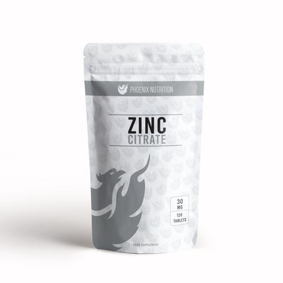 Zinc Citrate x 120 tablets 30mg front of pouch by Phoenix Nutrition