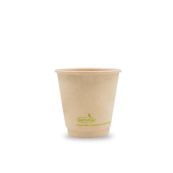115-550-008 Hot Cup EarthPro 8oz. (90mm) Double Wall Compostable Natural Paper Stock Print
