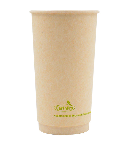 115-550-020 Hot Cup EarthPro 20oz. Double Wall Compostable Natural Paper Stock Print