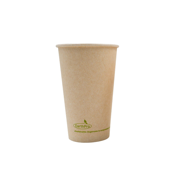 115-500-016 Hot Cup EarthPro 16oz. Compostable Natural Paper, Stock Print