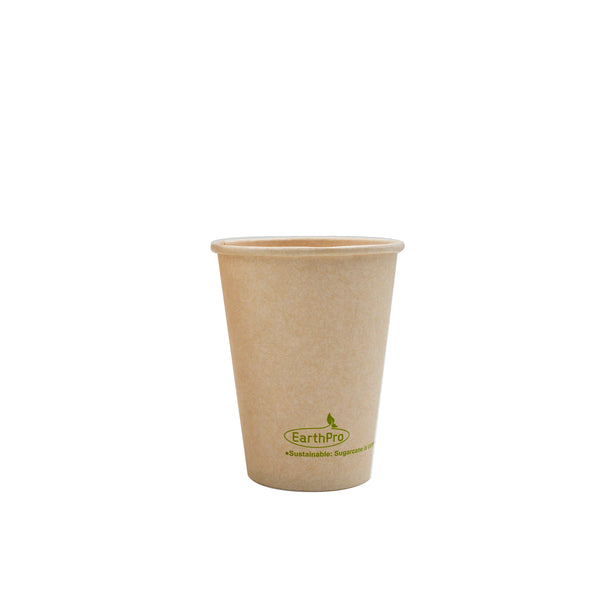 115-500-008 Hot Cup EarthPro 8oz.(80mm) Compostable Natural Paper, Stock Print