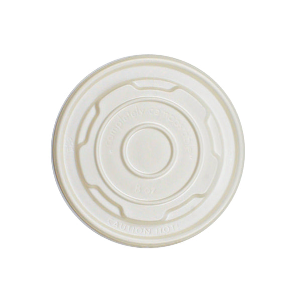 330-001-090 Natural CPLA Lid fits 8oz  PLA Soup/Food Cup (LSC08CPLA)