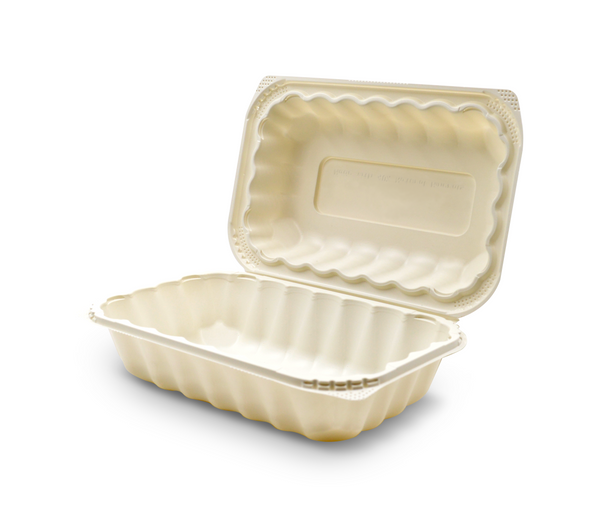 360-001-961 EarthPro Hinged MFPP 9x6 carry-out tray, one compartment