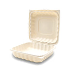 360-001-881 EarthPro Hinged MFPP 8x8 carry-out tray, single compartment