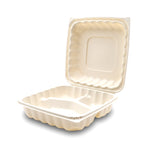 360-001-883 EarthPro Hinged MFPP 8x8 carry-out tray, three compartment