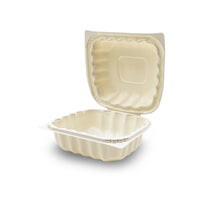360-001-661 EarthPro Hinged MFPP 6x6 carry-out tray, single compartment