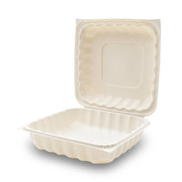 360-001-991 EarthPro Hinged MFPP 9x9 carry-out tray, single compartment
