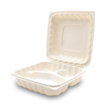 360-001-993 EarthPro Hinged MFPP 9x9 carry-out tray, three compartment