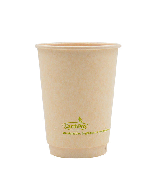115-550-012 Hot Cup EarthPro 12oz. Double Wall Compostable Natural Paper Stock Print
