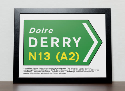 Irish Road signs - DERRY , Ireland