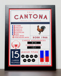 Eric Cantona stats poster - Manchester United